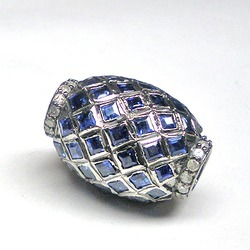 Diamonds And Sapphire Pave Set Beads