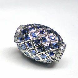 Diamonds And Sapphire Pave Set Beads