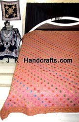 Gold Sequin Work Hand Embroidered Bedspread Bedsheet