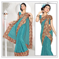 Graceful Teal Viscose Saree With Blouse (213)
