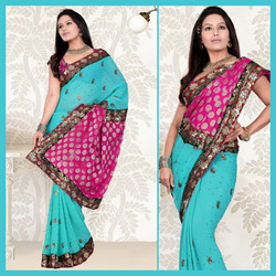 Light Blue Faux Georgette Saree With Blouse (122)
