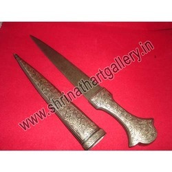 Fine Ancient Long Dagger Reproduction With Silver Work