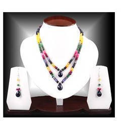 Handmade Double Strand Multi Gemstone Beaded Necklace Set