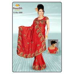 Red Flower Printed Saree