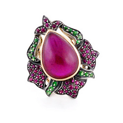 Vintage Ruby Studded Gold Ring