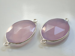 Lilac Color Chalcedony Sterling Silver Connector