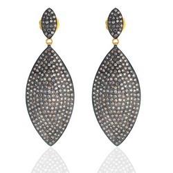 925 Sterling Silver Pave Diamond Earrings Women's Jewelry