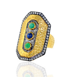 Multi gemstone diamond gold ring