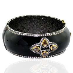 Gold & Silver Base Enamel Bangle