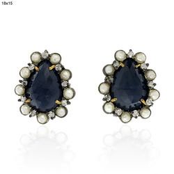 18k Gold Stud Gemstone Earring