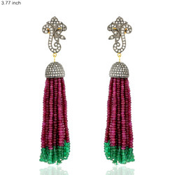 Precious Gemstone Tassel Earrings