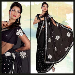 Sable Black Faux Georgette Saree With Blouse (162)