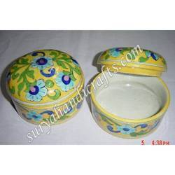 Round Blue Pottery Jar