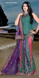 Attractive Bluish Purple, Deep Pink Jade Green Lehenga Choli