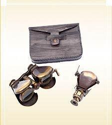 Brass Binocular & Monocular w/Leather Case
