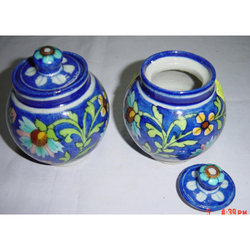 Blue Rounded Pottery Jar