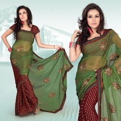 Maroon Viscose Saree With Blouse