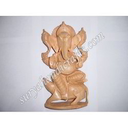Wooden Ganesha Sitting With Mouse