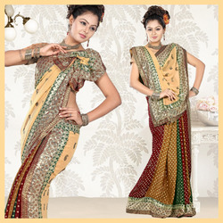 Multicolour Viscose Saree With Blouse (09)