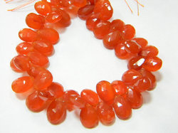 Carnelian+Faceted+Pear+Briolettes