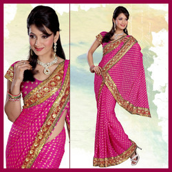 Magenta Viscose Saree With Blouse (160)