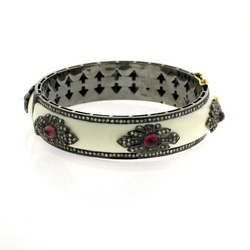 Ruby Enamel Diamond Bangle
