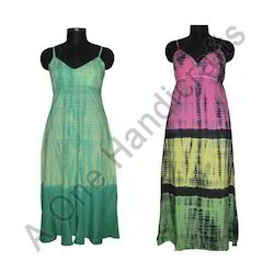Long Printed Hand Tie Dyed Cotton Fabric Dress