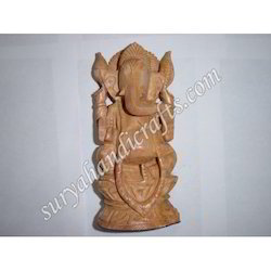 Wooden Ganesh With Stand Sitting