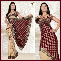Beige Faux Georgette Saree With Blouse (120)