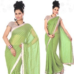 Lush Green Viscose Saree With Blouse