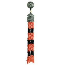 Coral Beads Diamond Tassel Pendants