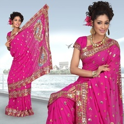 Mystic Magenta Faux Georgette Saree With Blouse