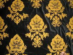 Crewel Fabric Konark Gold On Black Nocturn Cotton Velvet