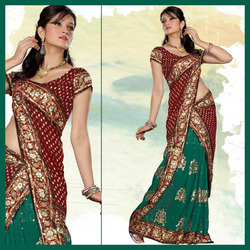 Maroon And Green Faux Georgette Saree With Blouse (149)