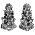 carved laxmi ganesh white metal god idols figures
