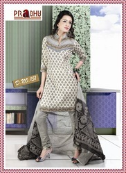 Cotton print Churidar Kameez with matching Dupatta