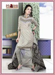 Cotton Print Churidar Kameez With Matching Dupatta