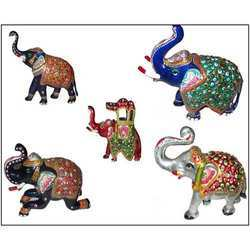 White Metal Enamel Elephants