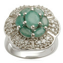 Emerald and Cz Studded Silver Ring