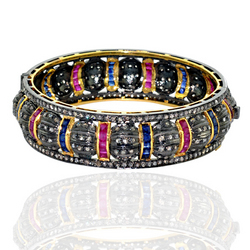 Ruby and Sapphaire Gold Bangle