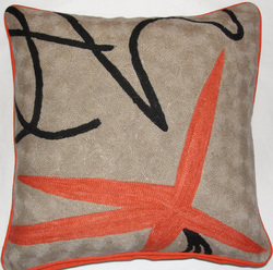 Crewel Chain Stitch Pillow Modern Mariposa
