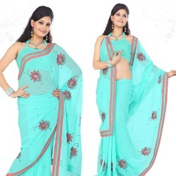 Aqua Blue Faux Georgette Saree With Blouse