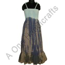 Designer Hand Tie Dyed Cotton Fabric Dress