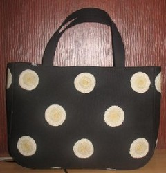 Crewel Handbag Polka Play White on Black Cotton Duck