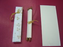 Scroll Invitations With Embroidered Boxes