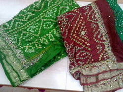 Pure Silk Bandhani Sarees With Work
