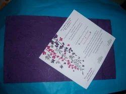 Silk Handmade Paper Wedding Cards With Printing