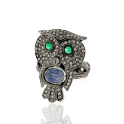 Pave Diamond Owl Shape Rings