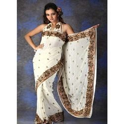 Cream Coloured Saree With Kashmiri Border