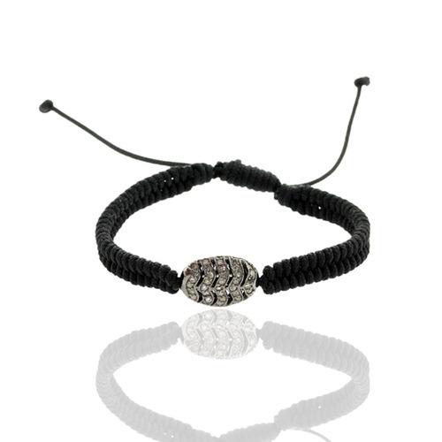 Diamond Bead Sterling Silver Macrame Bracelet